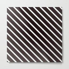 Raw Cacao Diagonal Stripes Metal Print