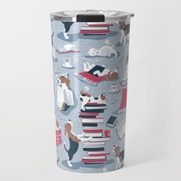 Life is better with books a hot drink and a friend // blue background brown white and blue beagles and cats and red cozy details Travel Mug