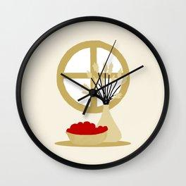 window scene: fruits and plant Wall Clock