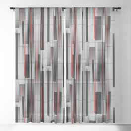 Off the Grid - Abstract - Gray, Black, Red Sheer Curtain