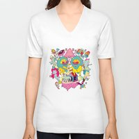 yetiland V-neck T-shirts featuring celebración by ALVAREZ