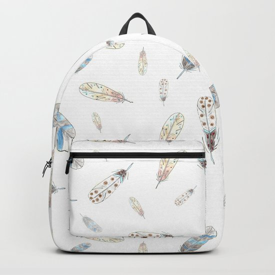Watercolor feathers print Backpack