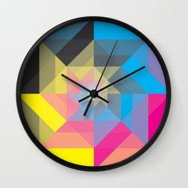 CMYK Triangles  Wall Clock