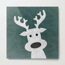 Christmas reindeer marble Metal Print