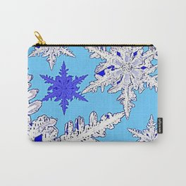 BEAUTIFUL BLUE & WHITE SNOW CRYSTALS  DESIGN Carry-All Pouch