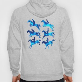 Watercolor Showjumping Horses (Blue) Hoody