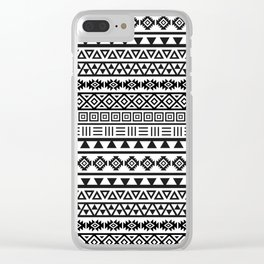 Aztec Influence Pattern II Black on White Clear iPhone Case