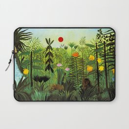 """Henri Rousseau """"Exotic Landscape with Lion and Lioness in Africa"""", 1903-1910 Laptop Sleeve"""