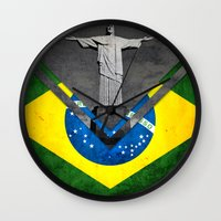 brazil Wall Clocks featuring Flags - Brazil by Ale Ibanez