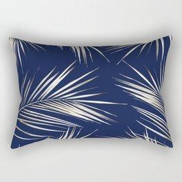White Gold Palm Leaves on Navy Blue Rectangular Pillow
