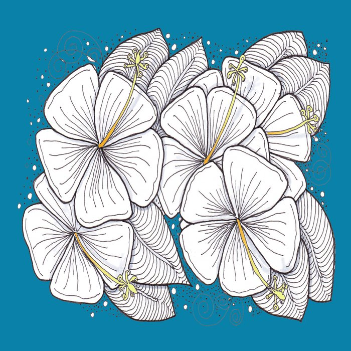 Zentangle Blue and Gold Hibiscus Blossoms for Flower Lovers Comforters