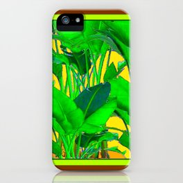 COFFEE BROWN TROPICAL GREEN & GOLD FOLIAGE ART iPhone Case