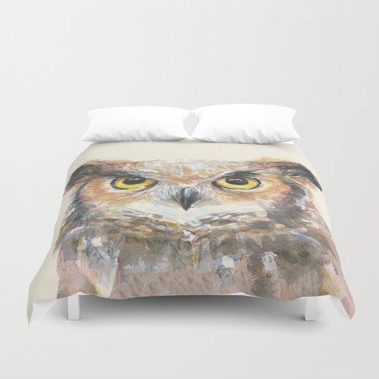 Owl Great Horned Bird Animals Duvet Cover