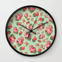 floral pattern Wall Clocks featuring FLORAL PATTERN by Allyson Johnson