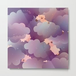 Heavenly Baby Sheep II - Wine Purple / Plum Color, Star Night Sky Background Metal Print