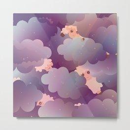 Heavenly Baby Sheep II - Wine Purple / Plum Color, Star Night Sky Background Metal Print