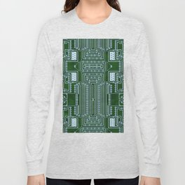 Green Geek Motherboard Circuit Pattern Long Sleeve T-shirt