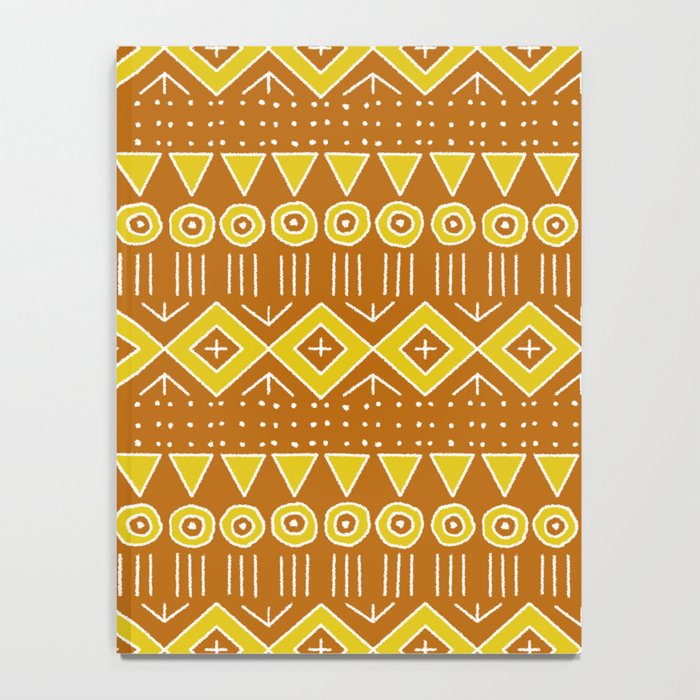 Mudcloth Style 2 in Burnt Orange and Yellow Notebook