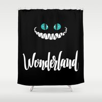 alice in wonderland Shower Curtains featuring Wonderland by Insait