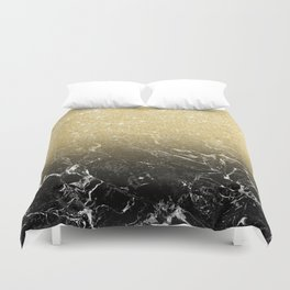 Modern girly luxurious faux gold glitter black marble pattern Duvet Cover