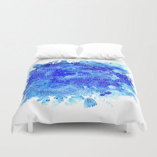 Blue Floral Pattern 02 Duvet Cover
