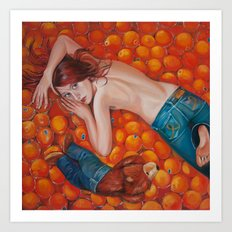 Lines of Me. Scarfy & Oranges.  Art Print