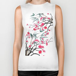 bamboo and red plum flowers in pink background Biker Tank