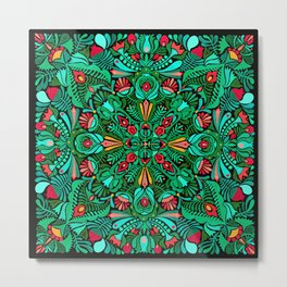 Green red folk inspired bohemian mandala pattern Metal Print