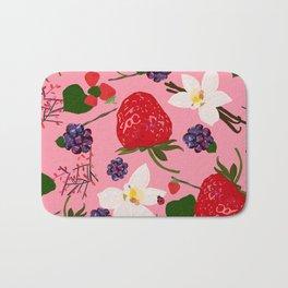 Strawberry, Blackberry and Vanilla Flower. Red Berries Pattern Bath Mat