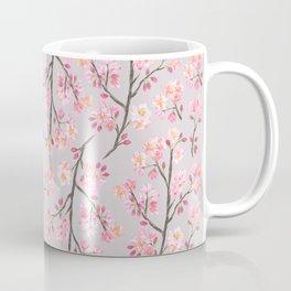 Cherry Blossom Pattern on Gray Coffee Mug