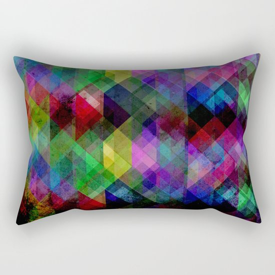 Geometric Grunge Abstract Rectangular Pillow