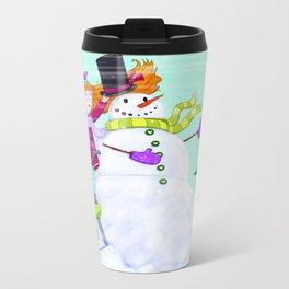 snowman Metal Travel Mug