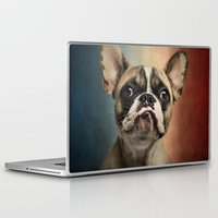 french Laptop & iPad Skins featuring French bulldog, french flag ! by Life on White Creative