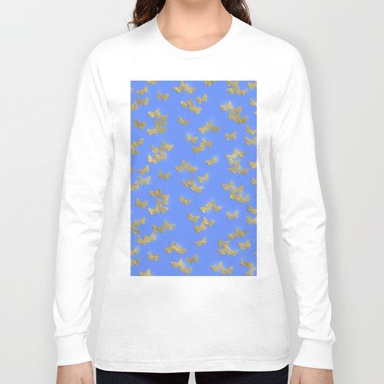 Golden butterflies on blue backround- Beautiful pattern Long Sleeve T-shirt