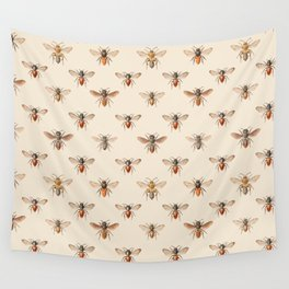 Vintage Bee Illustration Pattern Wall Tapestry