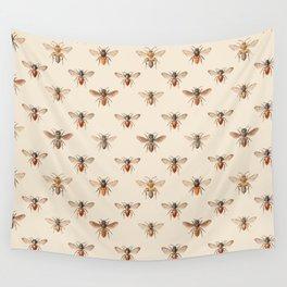 Vintage Bee Illustration Pattern Wall Tapestry
