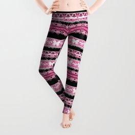 Black and pink striped pattern . Leggings