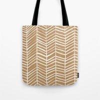 herringbone Tote Bags featuring Kraft Herringbone by Cat Coquillette