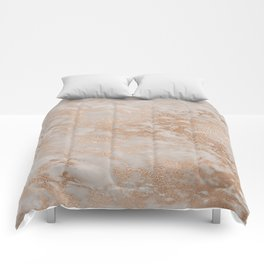 Rose Gold Copper Glitter Metal Foil Style Marble Comforters