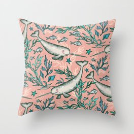 Narwhal Toile - peach pink Throw Pillow