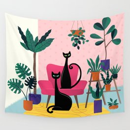 Sleek Black Cats Rule In This Urban Jungle Wall Tapestry