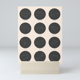Zodiac Constellations - Charcoal Mini Art Print