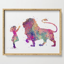 Girl and Lion Colorful Watercolor Art Animals Lover Gift Serving Tray