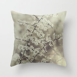 hawthorn blossoms Throw Pillow