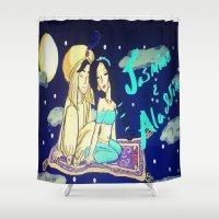 aladdin Shower Curtains featuring Jasmine & Aladdin  by NayomiArt