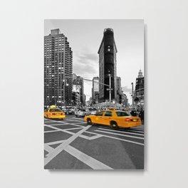 NYC Yellow Cabs Flat Iron Building Metal Print