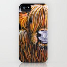 Scottish Highland Cow ' JOCK ' by Shirley MacArthur iPhone Case