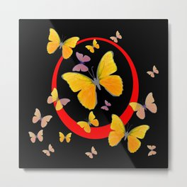 YELLOW BUTTERFLIES & RED RING  ABSTRACT ART Metal Print