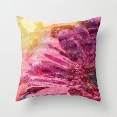 Pink glitter blossom -Floral watercolor illustration Throw Pillow