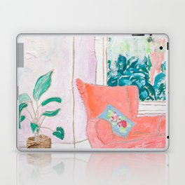 A Room with a View - Pink Armchair by the Window Laptop & iPad Skin